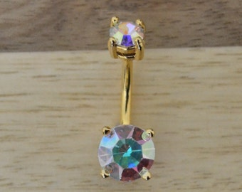 Aurora Borealis Round Shape Double Prong Set Gem Gold Plated Belly Button Ring Navel Body Piercing Jewelry