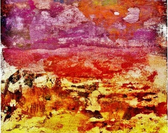8x16 Fine Art Print of Original Mixed Media Collage 'Sunset'