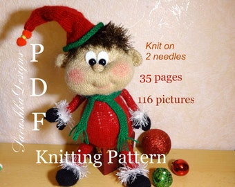 Knitting pattern Doll Emil knit House Elf Toy knitting Pattern, knitted doll,  Knit toy 2 needles, knitting knitted flat, mothers days gift