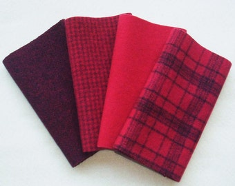 """Hand Dyed Felted Wool, RUBY, Four 6.5"""" x 16"""" pieces in Pure Red, Perfect for Rug Hooking, Applique and Crafts"""