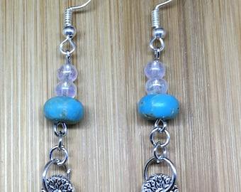 Fun Dangle Earrings in Silver, Aqua and White