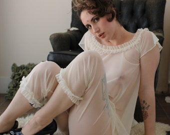 sheer pajama set with ruffle details - RUFFLES - made to order
