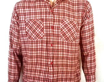 vtg 50s Pilgrim Loop Collar Shadow Plaid Shirt Sanforized DEFECTS Movie Prop M