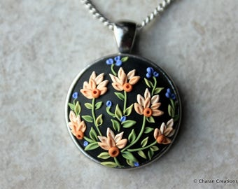 Gorgeous Polymer Clay Applique Statement Pendant Necklace in Black and Peach