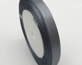 "Grey Satin Ribbon-3/8""-10mm-10 YDS. #R015"
