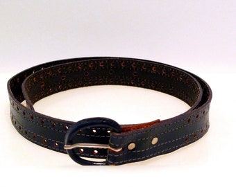 Blue Leather Belt Perforated Dot Pattern 1970s 1980s Vintage Waist 32 to 33 Made in USA Covered Buckle Small Punched Holes Perforations