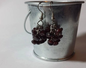 Genuine Garnet Red Briolette Cluster Earrings