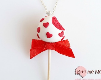 Food Jewelry Cake Pop Necklace - Valentine Red Velvet Cake Pop Necklace - Miniature Food Jewelry, Cake Pop Jewelry, Cake Jewelry