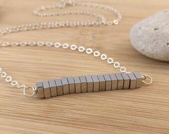 Black Hematite Bar Necklace. Sterling Silver. Modern Necklace. Black Gemstone Jewelry. Layering. Minimalist.