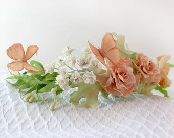 Pastel Flower Crown with Butterfly, Flower Headband, Floral Headband, Butterfly hair Crown, bohemian flower crown, cream floral Headband