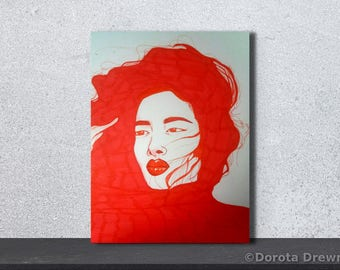 Japanese Woman, Original Painting, High Quality Giclee Print, Asian Girl, Wind In Hair, Red On White, Minimalism, Lips, Single Color