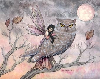 Friendship - Original Fairy and Owl Fine Art Giclee PRINT by Molly Harrison 9 x 12