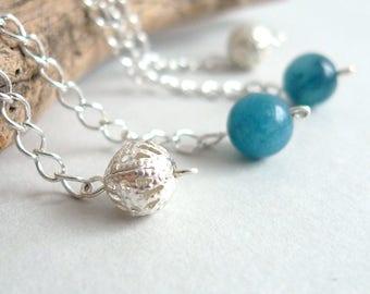 Blue Agate Dangle Earrings - Semi-Precious Gem Stone Silver Earrings - Long Silver Chain Drop Earrings - Blue Round Bead - Minimal Jewelry