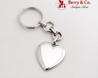 Italian Heart Shaped Keychain Sterling Silver