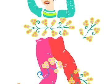 Jetez-lui des fleurs, custom portrait, poetic portrait, funny portrait for a friend, birthday gift