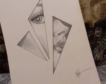 Pencil sketch geometric woman's face