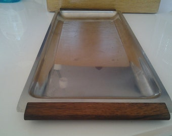 Danish stainless steel and teak serving tray