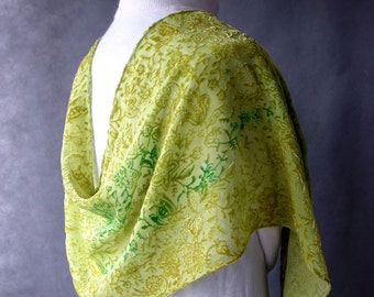 Velvet Hand Dyed Silk - Green Floral Shawl by SheWeaves hand painted velvet on sheer background great head scarf chunni or dupatta