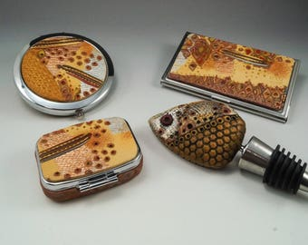 CHOICE of Gold Silver Copper Snakeskin Accessories - Compact Mirror Card Case PillBox Bottle Wine Stopper - 127