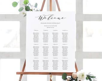 Editable Template - Instant Download Soft Calligraphy Guest Seating Chart in 6 size and table variations