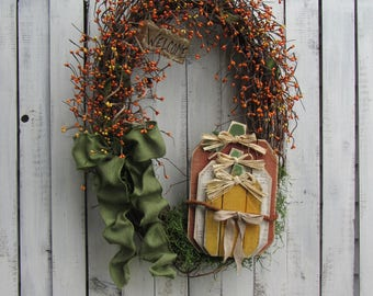 Pumpkin Wreath, Fall Wreath, Front Door Wreath, Autumn Wreath, Primitive Wreath, Fall Door Wreath, Fall Berry Wreath, Fall Rustic Wreath