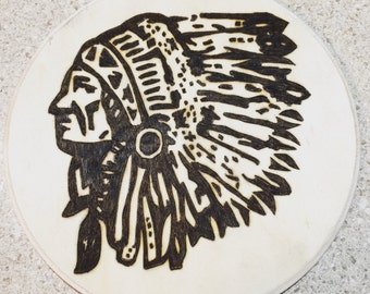 Indian chief woodburning