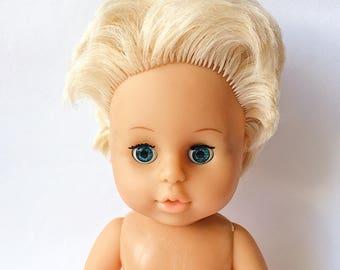 Vintage plastic doll, Soviet girl doll, Blondie girl doll, USSR plastic doll, Toy doll USSR, Soviet plastic doll, Soviet plastic toy