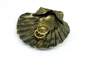 Black and gold ring dish, Mother's Day gift, shell ring dish, gift for her