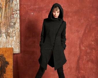 Black Wool Coat, Womens Winter Coat, Asymmetrical Coat, Fitted Coat, Wool Hooded Coat, Warm Coat, Gothic Clothing, Steampunk Clothing, Gizda