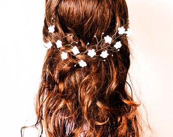 Boho wedding Rustic wedding hair accessories Hair pieces for wedding hair Boho wedding Bohemian wedding White flower Boho flower crown 23
