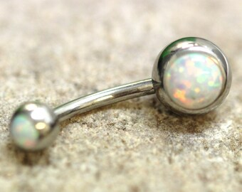 White Fire Opal Navel Ring Belly Bar - UK Seller