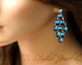 Peacock Blue Crystal Chandelier Dangle Earrings - SAMANTHA