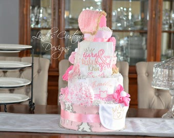 Tutu Tiara Diaper Cake, Girl Diaper Cake, Pink Diaper Cake, Princess Crown Tiara Diaper Cake, Tutu Diaper Cake, Baby Shower Centerpiece