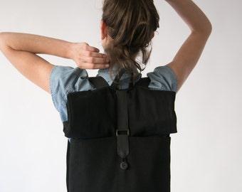 Black Laptop Backpack, Black Leather Backpack, Vegan backpack, Rolltop Backpack, Minimalist Backpack, Canvas backpack, Big black bag