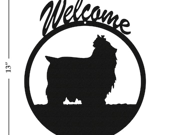 Dog Yorkshire Terrier Black Metal Welcome Sign