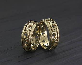 Vintage style His and Her wedding bands set Vine two tone