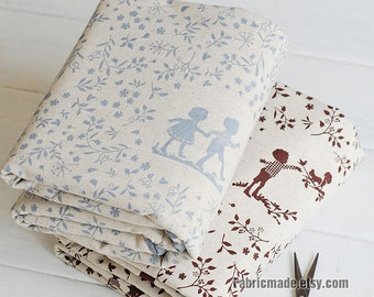 Upholstery Curtain Cotton Linen Fabric- Beige With Sketch Boy Girl Leaves Fabric- Fabric by Yard 1/2 Yard