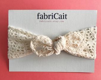 Lace Headband. Boho Headband. Cream Headband. Spring Headband. Boho Chic Headband. Baby Headband. Baby Bow Headband. Gift For Girls.
