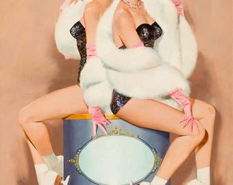 Pin Up Girl Art Print Reproduction, Ice Follies, Two Beauties by Gil Elvgren