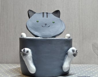 Cat Plant Pot, Gray & White, Animal Planter, Succulent or Cacti Plant Pot, Desk Planter, Mother's Day Gift, Spring, Gardening