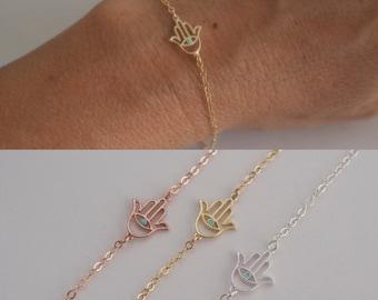 Hamsa hand bracelet with color evil eye - filigree hamsa hand bracelet - protection necklace - 925 solid sterling