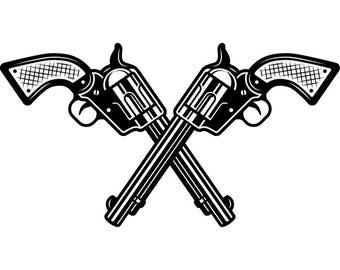 Cowboy Logo #1 Guns Crossed Weapon Pistol Revolver Western Rodeo Ranch Old West Wrangler Logo .SVG .EPS .PNG Vector Cricut Cut Cutting File