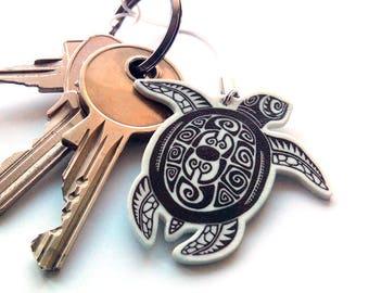 Sea turtle charm, Gift for him, Maori, Polynesian art turtle, Animal keychain, Phone charm