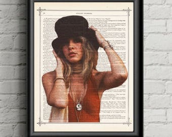 Stevie Nicks Poster-  Bohemian Decor-dictionary Music Celebrity Art Print, Fleetwood Mac Fan Gift Antique Book Page Gypsy Decor