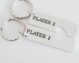 Player 1 player 2 gaming handstamped quality keyrings with heart cutout for him and her or even him/him or her/her great valentines gift
