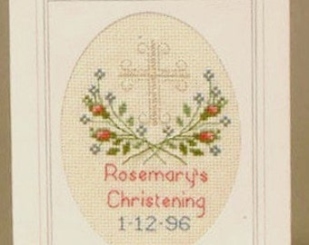 CD 670 Christening Birth Cross Stitch Card Kit