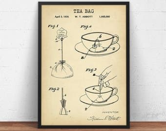 Tea Bag Patent Print, Digital Download, Kitchen Wall Art, Tea Lover Gallery Wall, Tea Poster Printable, Vintage Tea Art print, Kitchen Decor