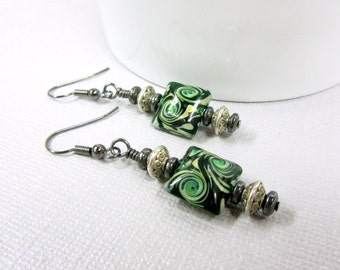 Green and Black Swirls Lampwork Earrings, Square Lampwork Spiral Earrings, Green and Black Glass Earrings