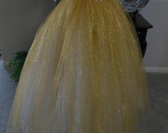 Gold Tulle Skirt Handmade Custom Fit by Violet Castle Costumery