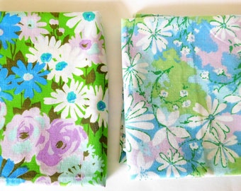 Vintage Floral Pillowcases Granny Chic Turquoise Floral